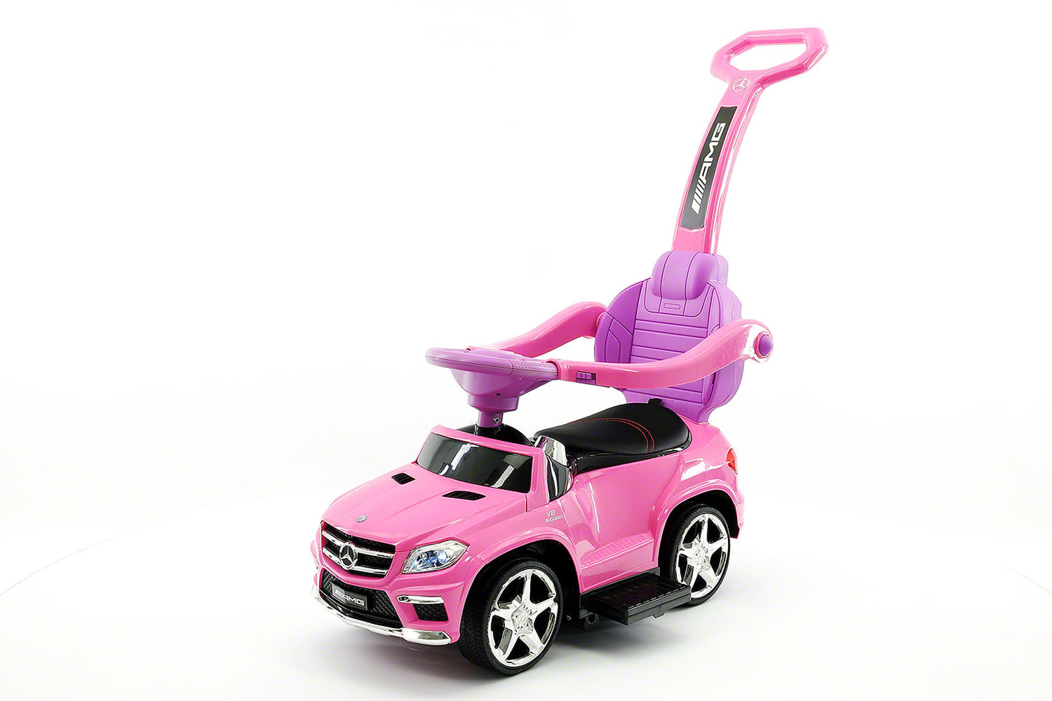 mercedes gl63 kids convertible ride on push and foot to floor car pink