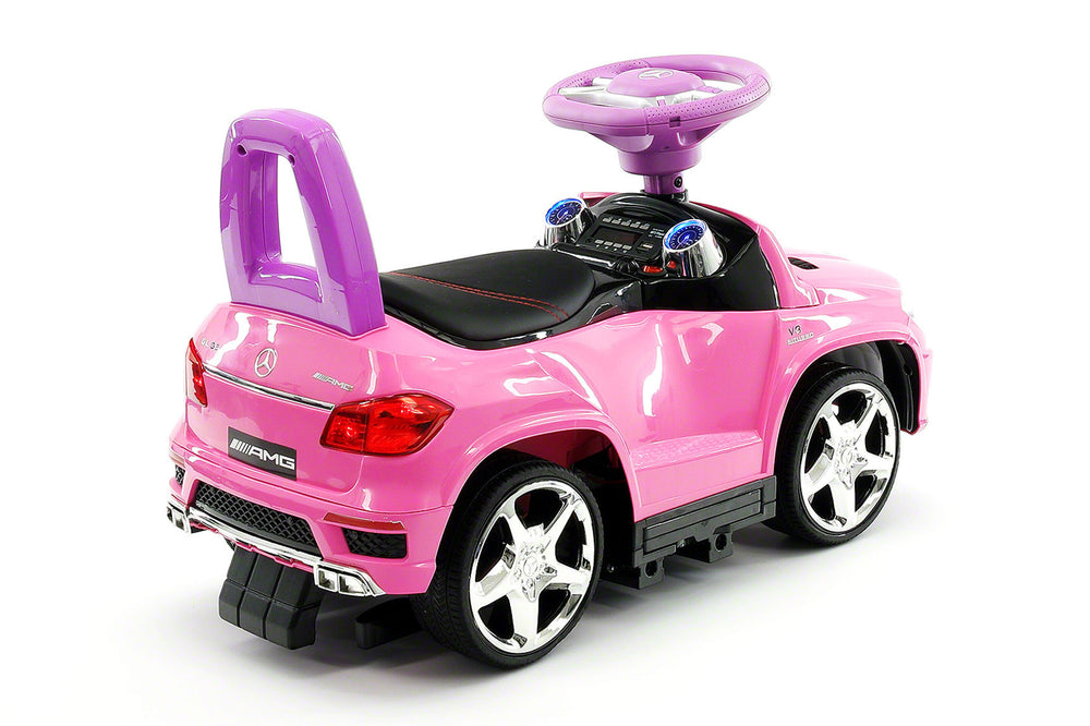 moderno kids mercedes gl63 kids convertible ride on push and foot to floor car pink