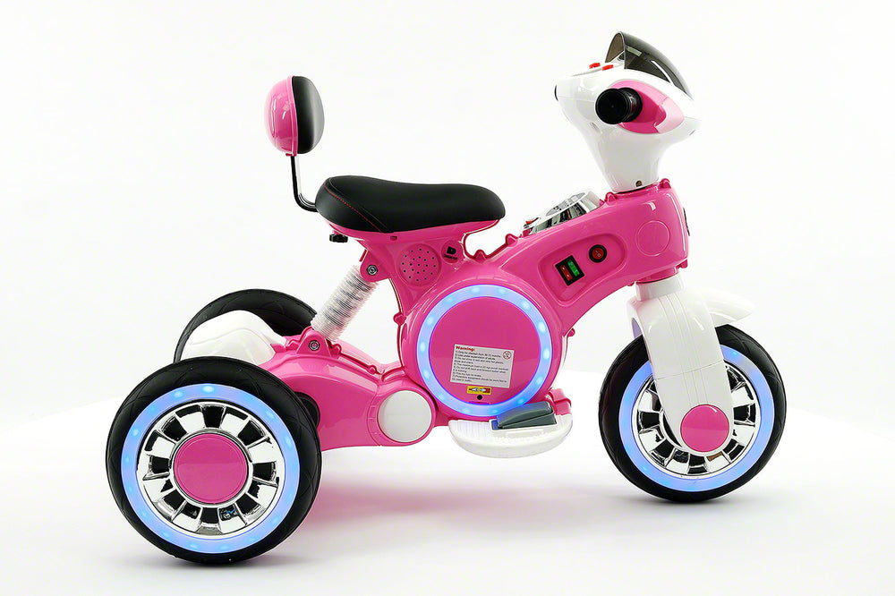 VIP 12V Electric Kids Ride On Tricycle with LED Wheels and MP3 Player | Pink