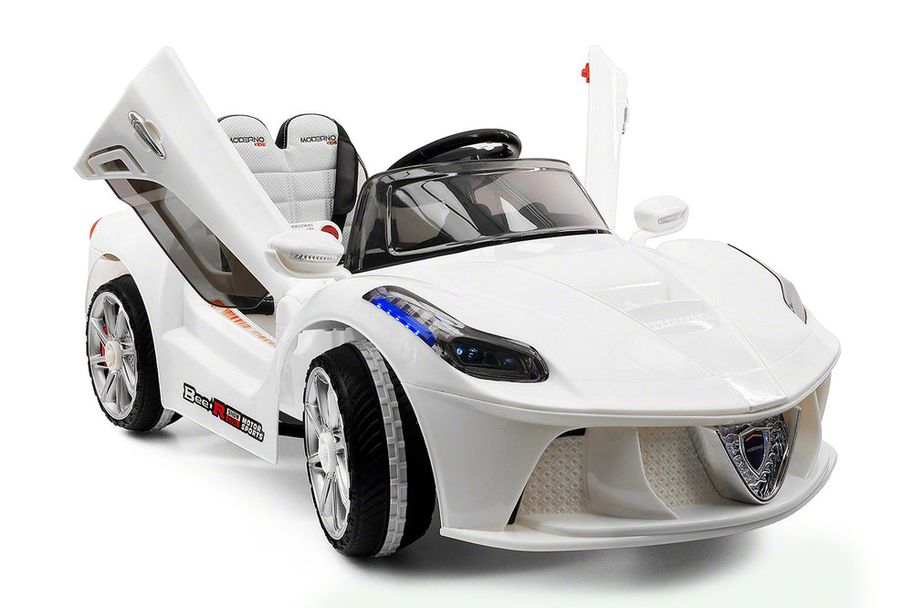 Moderno Kids Spider GT Kids 12V Ride-On Car with R/C Parental Remote | White