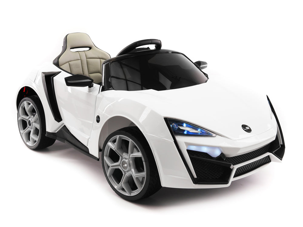 Moderno Kids Stinger Type-S Kids 12V Ride-On Car with R/C Parental Remote | White