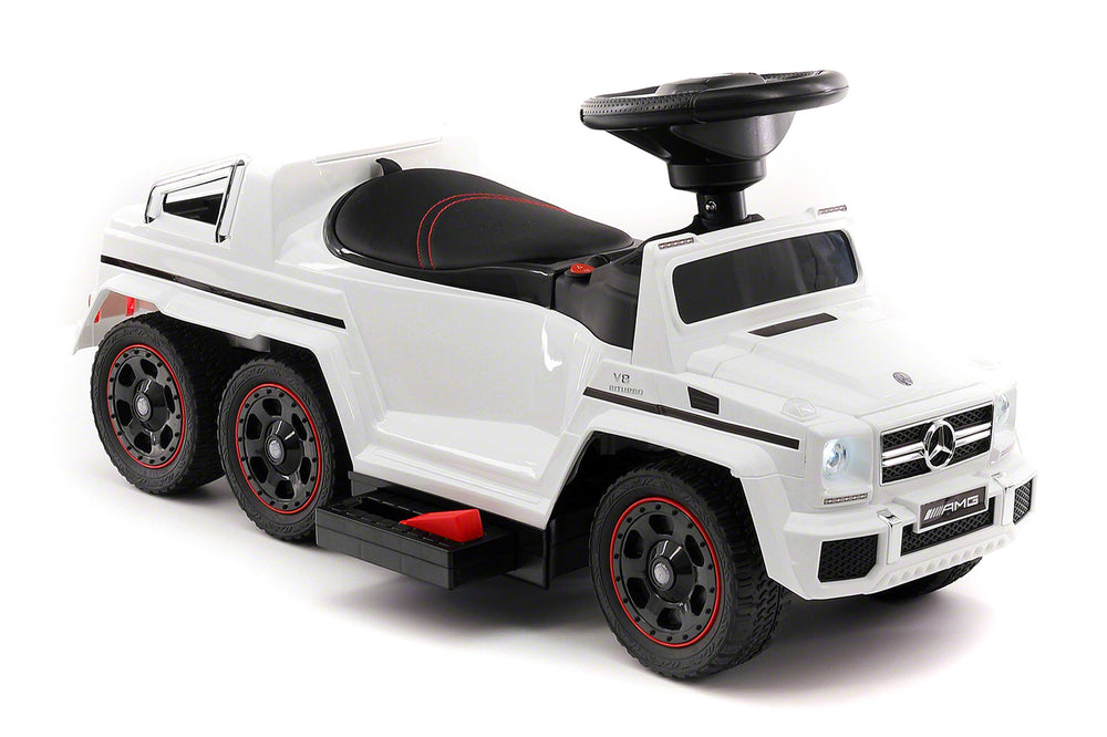 Moderno Kids Mercedes G63 AMG 6x6 Children Electric Ride On Convertible Push and Foot to Floor Car | White