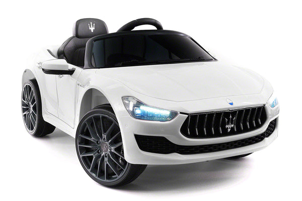 Moderno Kids Maserati Ghibli 12V Electric Kids Ride-On Car with R/C Parental Remote | White