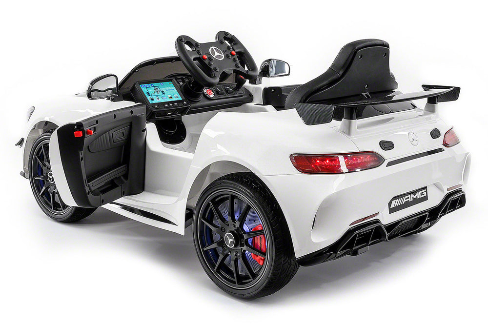 Moderno Kids Mercedes GT AMG 12V Kids Ride-On Car with Parental Remote | White