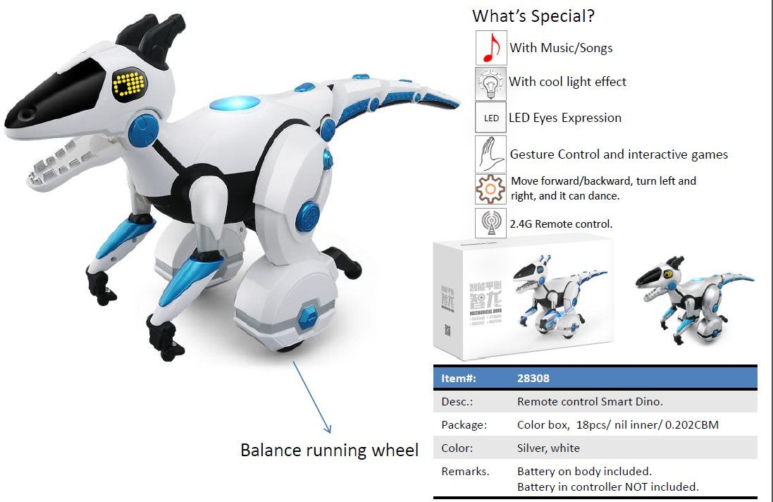 Interactive Battery Operated Self Balancing Robot-Dinosaur with RC Remote Control | White