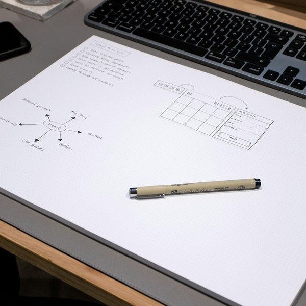 A3 Dot Grid Deskpad - White