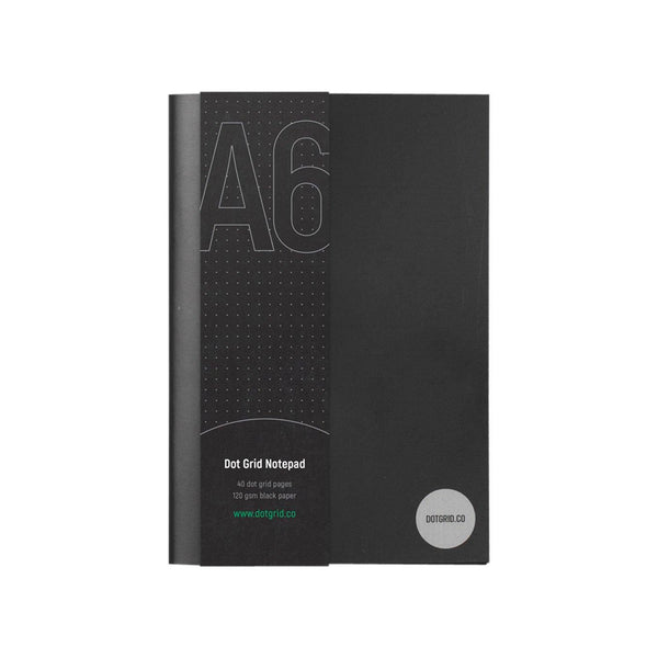 A6 Dot Grid Notepad - Black Pages