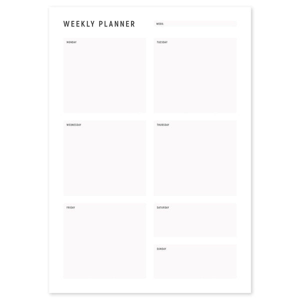 A4 Weekly Planning Pad - Grey, Portrait
