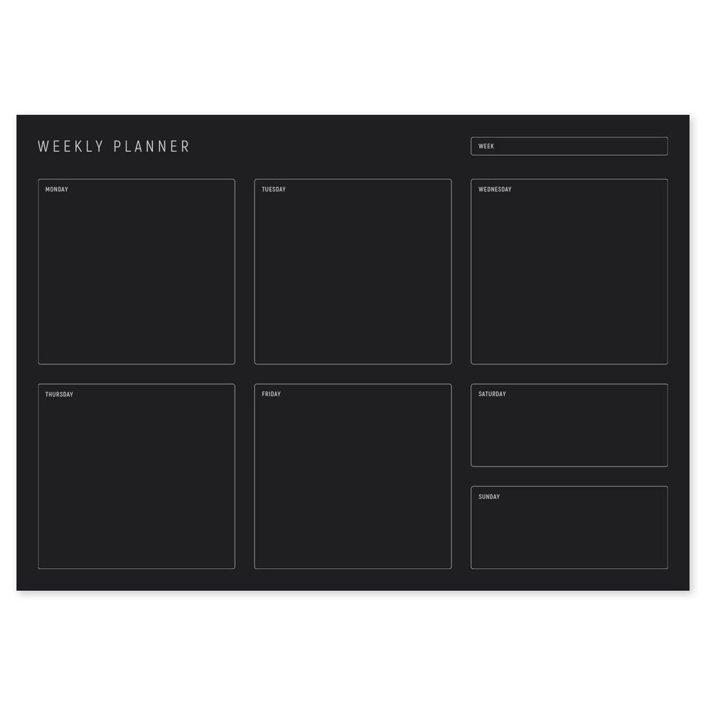 A4 Weekly Planning Pad - Silver/Black, Landscape
