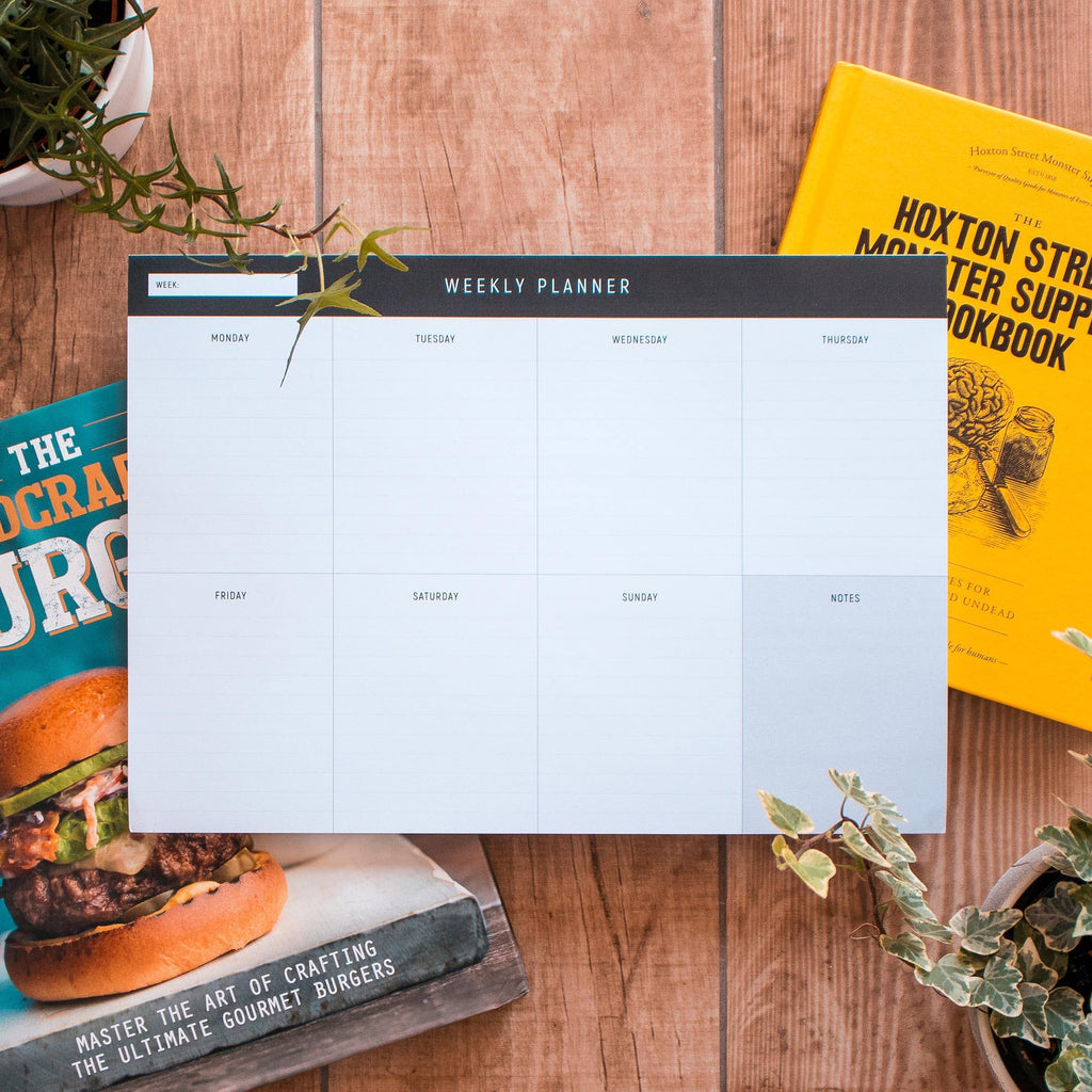 A4 Weekly Planning Deskpad - Lined, Black