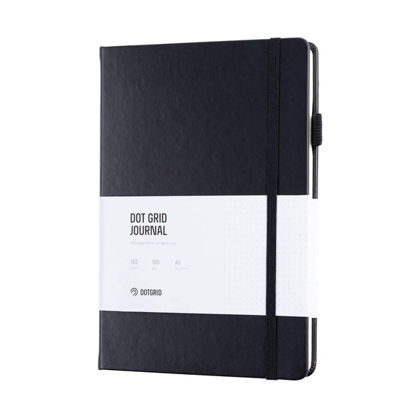 A5 Dot Grid Journal - Black Cover, Ivory White Pages