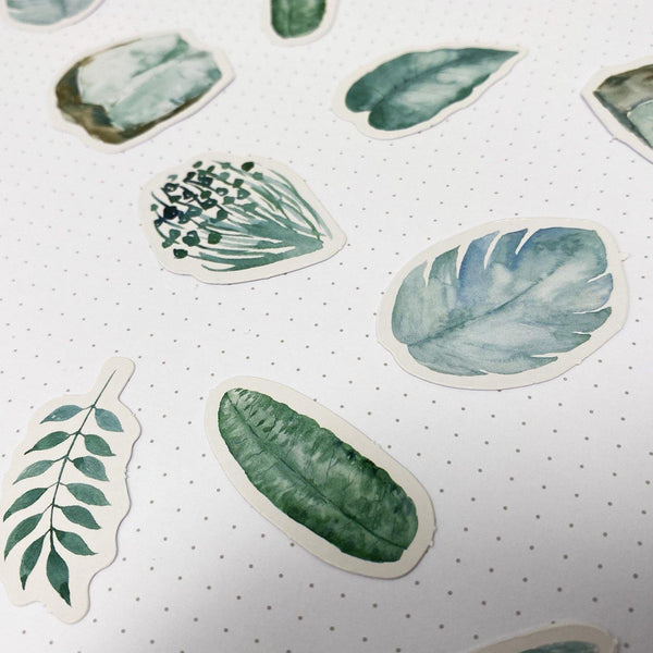 Foliage Watercolour Stickers #1 - 45 Stickers