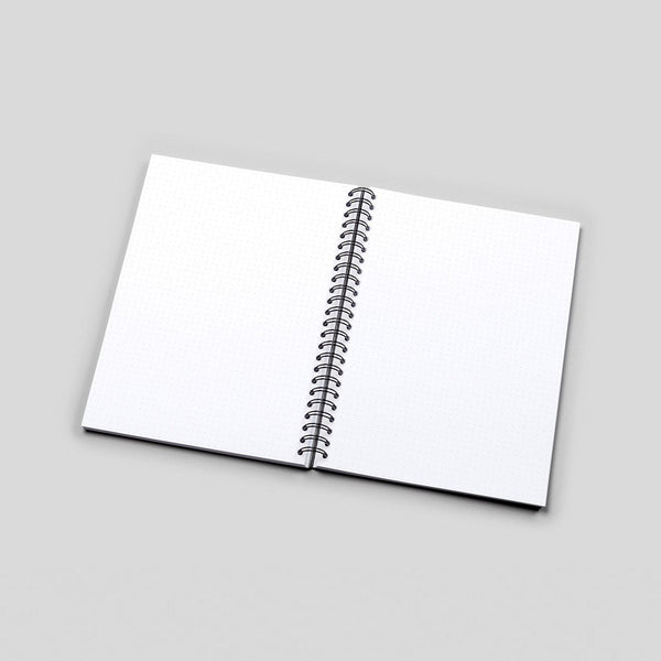 A5 Dark Tropical Flowers Dot Grid Notebook - White Pages