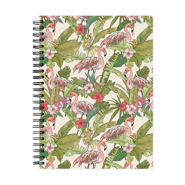 A5 Flamingo & Flowers Dot Grid Notebook - White Pages
