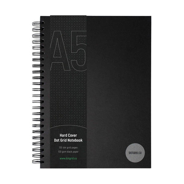 Hard Cover A5 Dot Grid Notebook - Black Pages