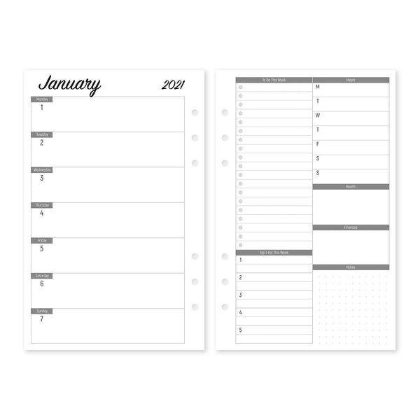 Week on One Page with Lists - Planner Inserts- Size M
