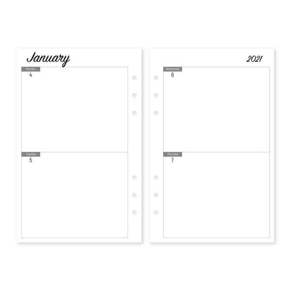 Two Day Pages - Planner Inserts, Size M