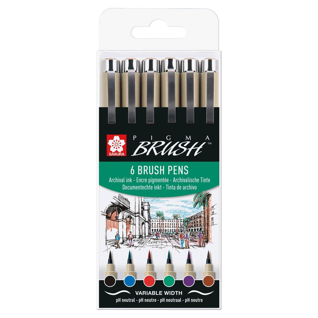 Sakura Pigma Brush Set - Basic Colours, 6 Pack