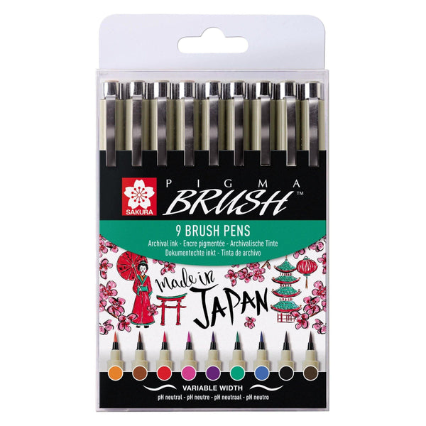 Sakura Pigma Brush Set - Assorted Colours, 9 Pack
