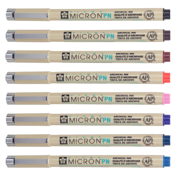 Sakura Pigma Micron PN Pens - Assorted Colours, 8 Pack