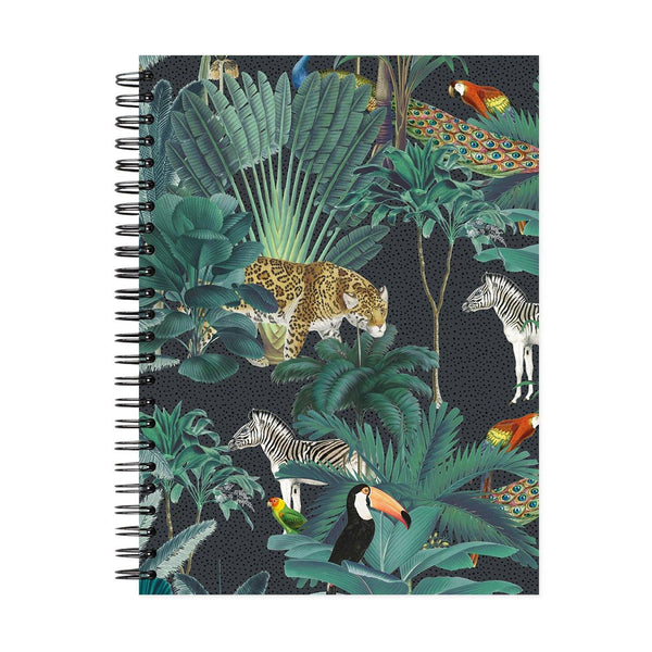 A5 Royal Palms Navy Dot Grid Notebook - White Pages