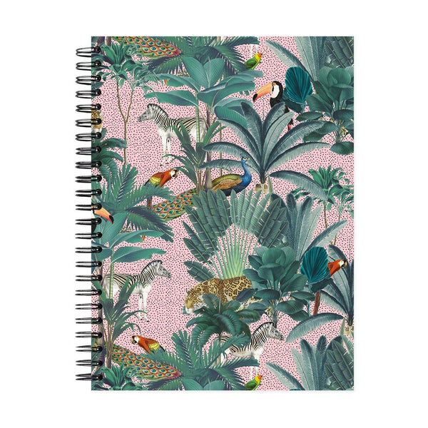 A5 Royal Palms Pink Dot Grid Notebook - White Pages