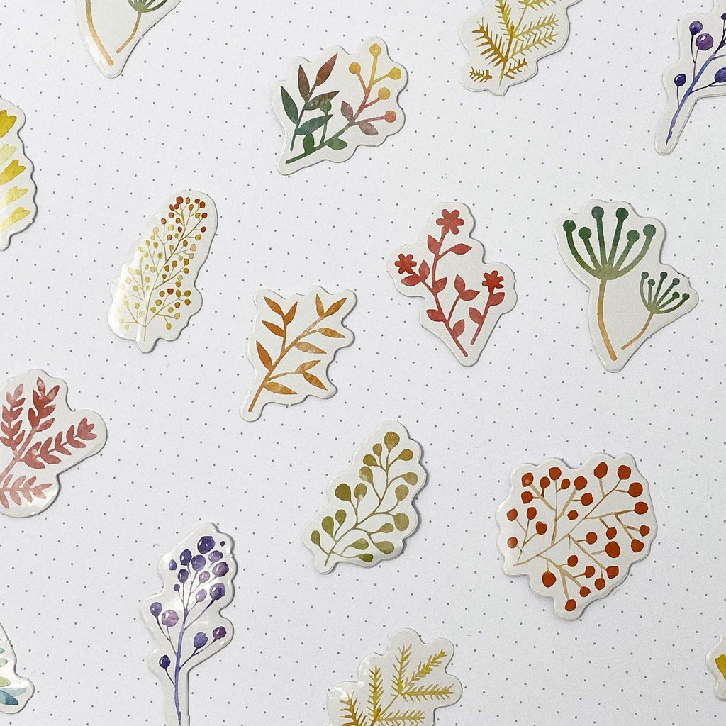 Foliage Watercolour Stickers #2 - 45 Stickers