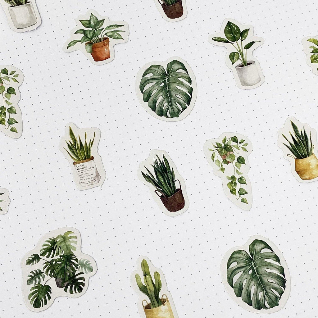 Houseplant Watercolour Stickers - 45 Stickers
