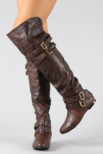 e79f51a7a06b Buckle Slouchy Riding Over-The-Knee Boots – Nothing But Jaz