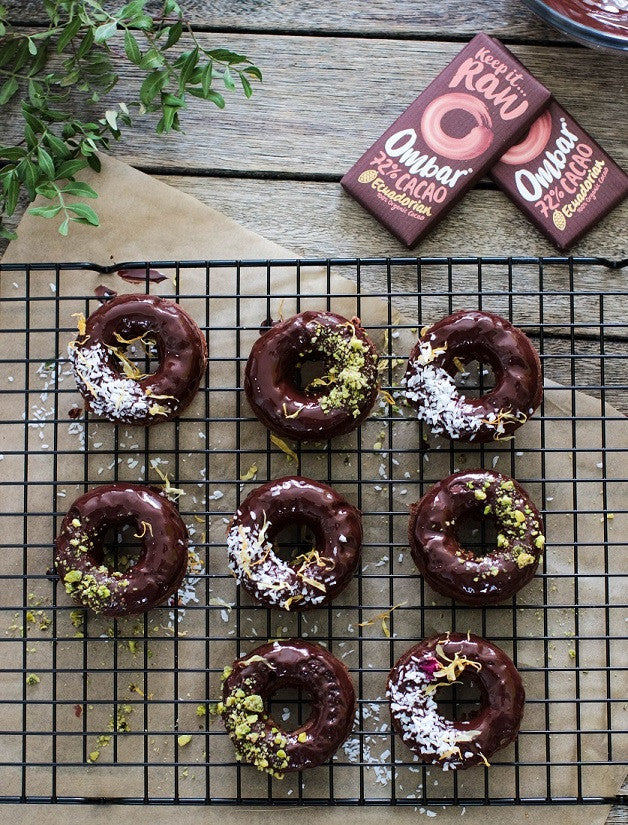 Double Chocolate Donuts with Ombar 72% Chocolate