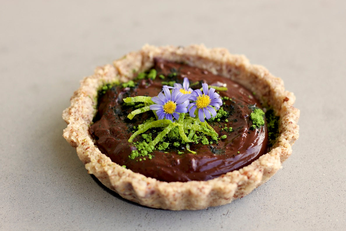 Pistachio Crusted Zesty Chocolate Tart