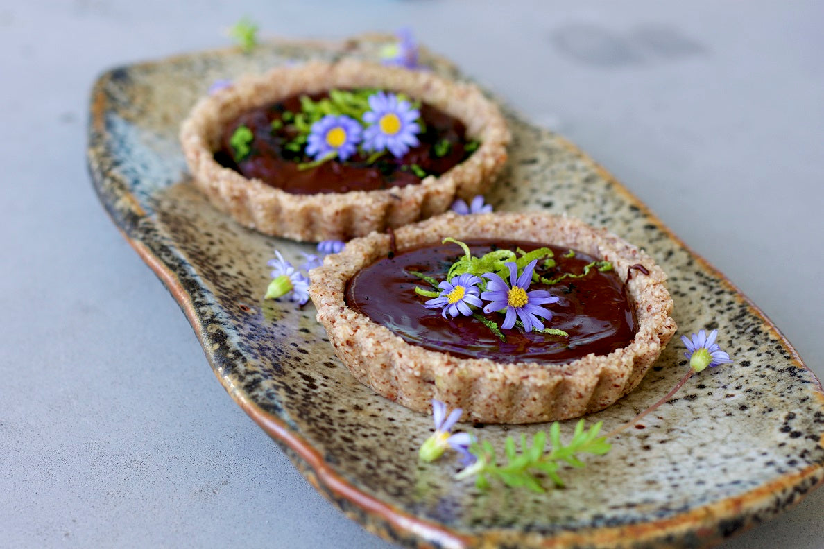 Pistachio Crusted Zesty Chocolate Tarts by Bettina's Kitchen