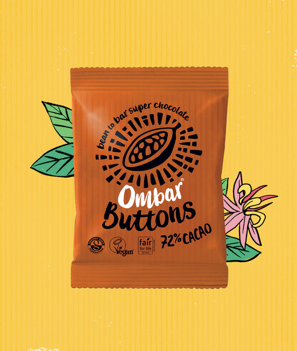 Buttons 72% Cacao case of 15 bags'