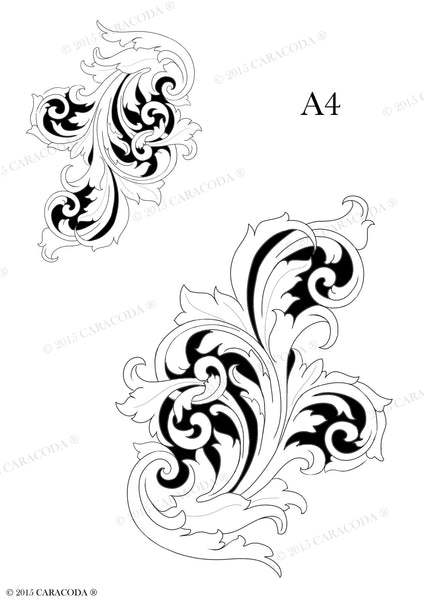 Leathercraft tooling pattern scroll a your