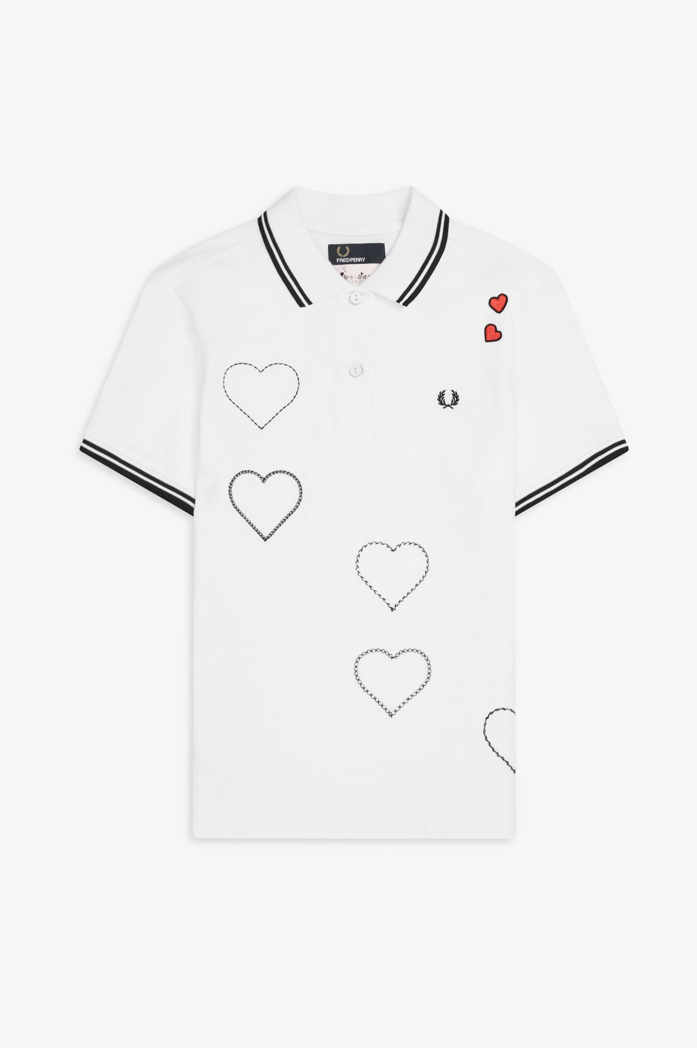 EMBROIDERED HEART PIQUE SHIRT