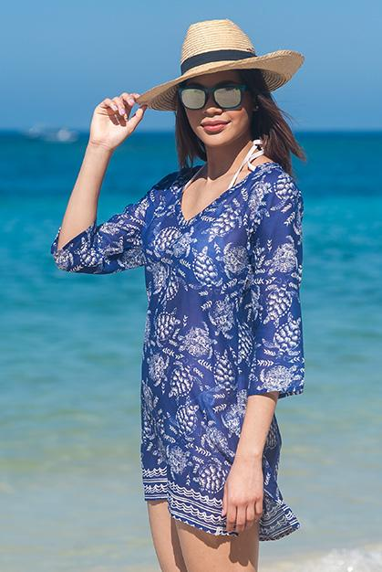 Fireworks Turtle Cotton Tunic Beach Coverup KV446