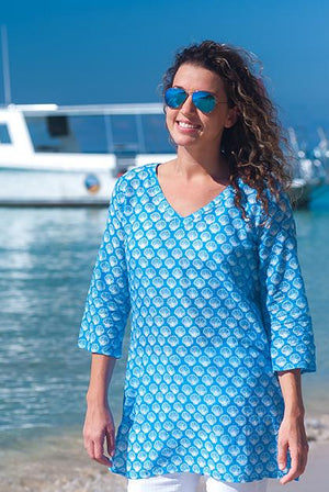 Shell Cotton Tunic Beach Coverup KV406A