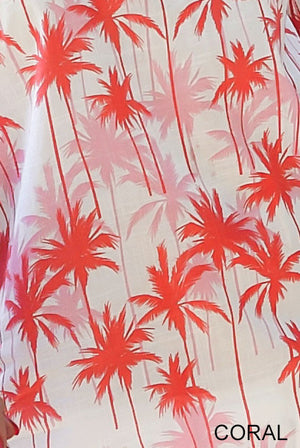 Coconut Palm Tree Printed Cotton Sarong Pareo KVCCNT