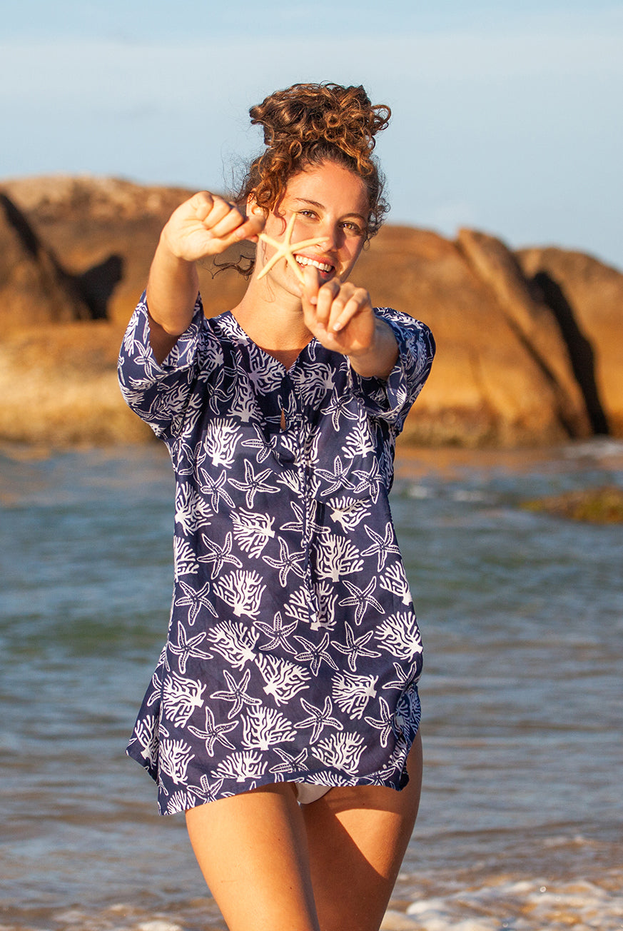 Coral Reef Cotton Beach Tunic Coverup KV451