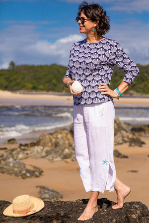 Seashell 3/4 Sleeve Cotton Beach Tee KV531