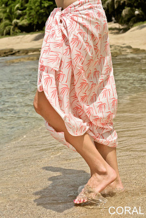 Palm Tree Printed Cotton Sarong Pareo KVPMTR