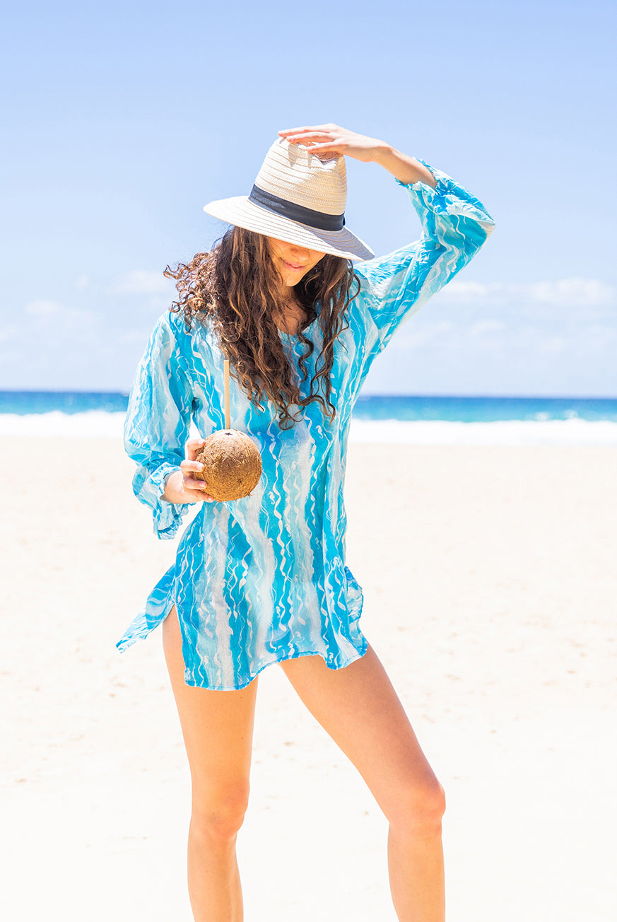 Ribbons Seahorse Cotton Beach Tunic Coverup KV448