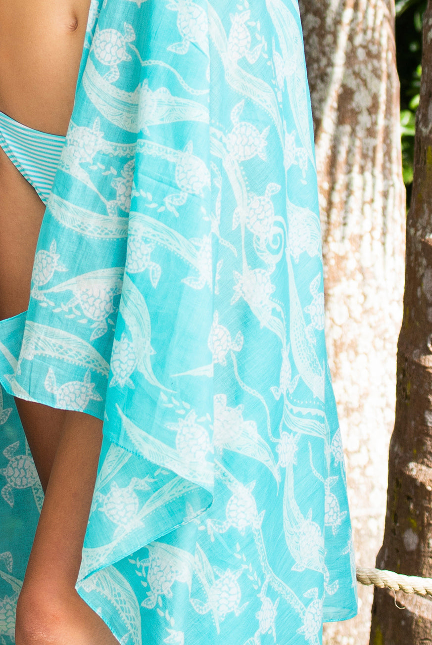 New Turtle Turtle Printed Cotton Sarong Pareo KVNTRT
