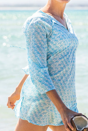 Wave Tunic Cotton Beach Tunic Coverup KV471