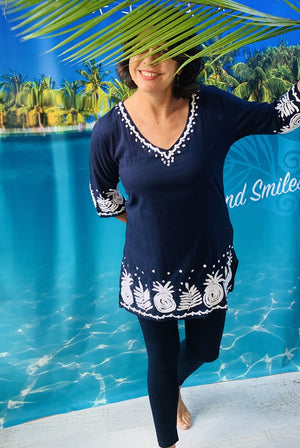 Pineapple Cotton Tunic Beach Coverup KV538