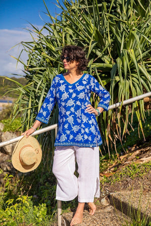 Honu Turtle Cotton Beach Tunic Coverup KV539