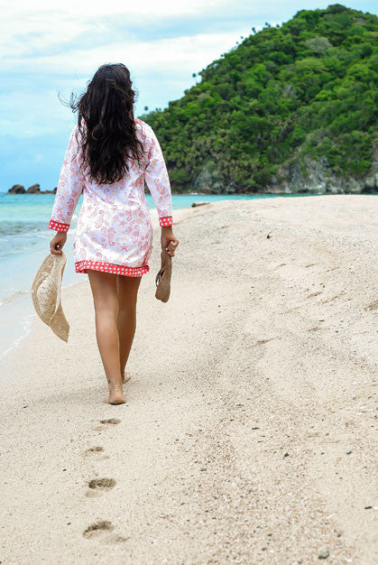 Caribbean Dream Cotton Beach Tunic Cover up with sequins KV315