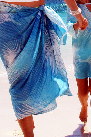 Palm Leaf Printed Cotton Sarong Pareo KVPMLF