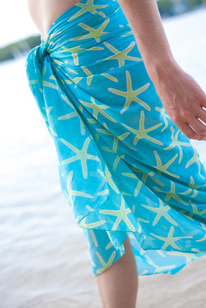 St.Barths Starfish Printed Cotton Sarong Pareo KVSTBT