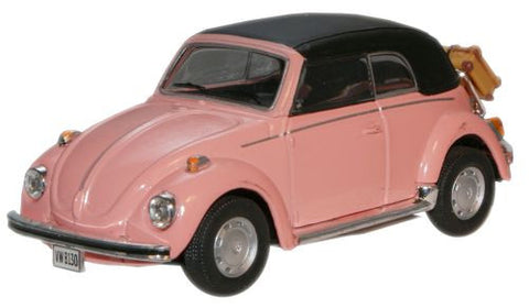 CARARAMA VW Beetle Convertible Pink - 1:43 Scale - OxfordDiecast